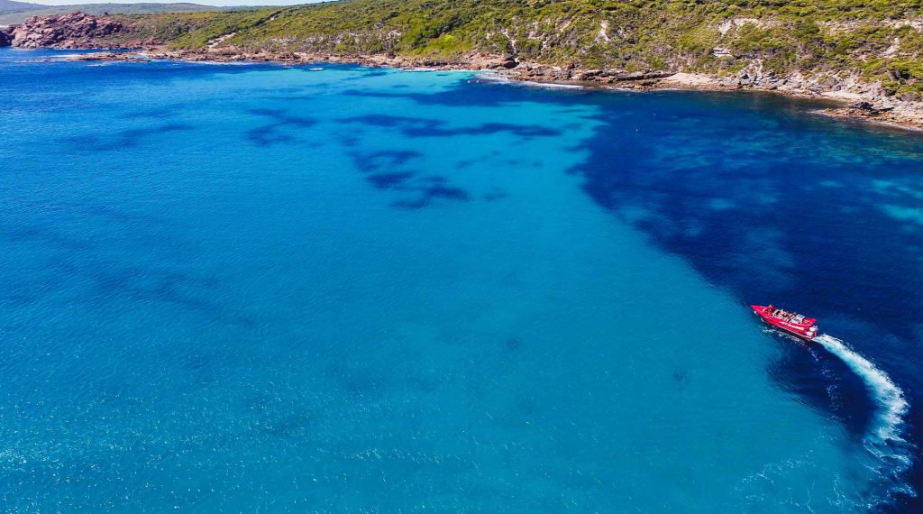 A Jet Adventures Eco Cruise making the most of the beautiful scenery in Geographe Bay and Cape Naturaliste