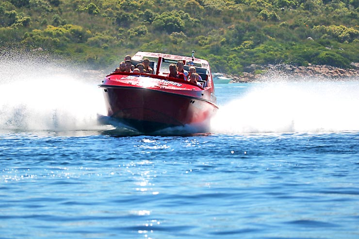 Jet boat at full speed, Jet Adventures Dunsborough